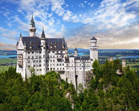 Neuschwanstein Castle and the village of Hohenschwangau near Füssen in southwest Bavaria, Germany
