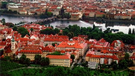 View overlooking Old Town - Prague, Czech Republic Stock Photo