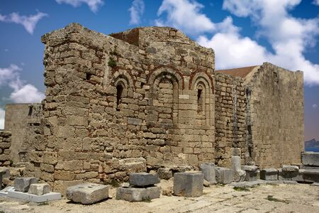 The remains of an ancient byzantine church at the Acropolis of Lindos - Rhodes, Greece