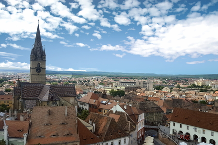 Aerial view of Sibiu and the Lutheran Cathedral of St. Mary dominating the skyline - Sibiu, Romania