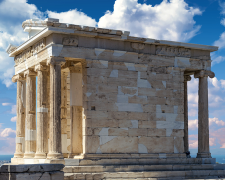 A part of the remains of the Temple of Athena Nike. Athenian Acropolis, Athens, Greece