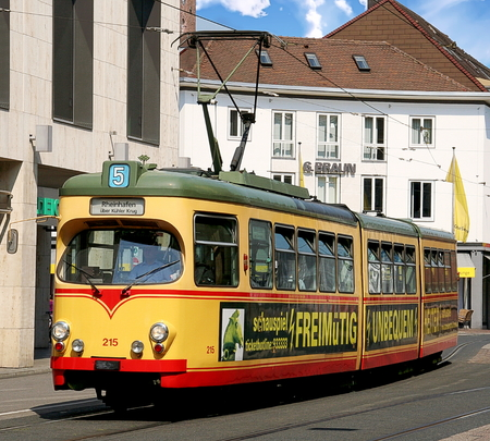 A city tram on a street in Karlsruhe, Germany Redakční