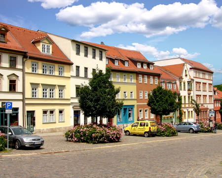 A street scene in Weimar, Thuringia, Germany