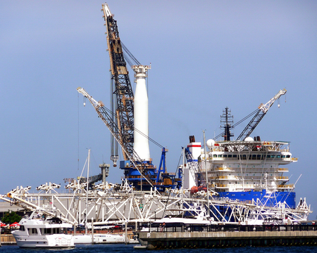 View of a crane and supply ship at the Port of Pensacola