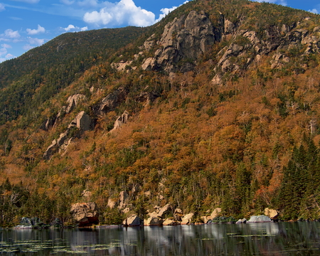 Wildcat Mountain rising over Carter Notch in the White Mountains of New Hampshire