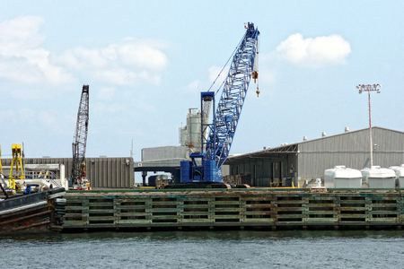 View of a crane at the Port of Pensacola Stock Photo