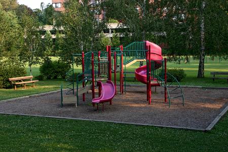 A public playground at a public park - Stamford, CT Standard-Bild - 115064609