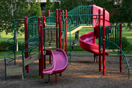 A public playground at a public park - Stamford, CT Stock Photo