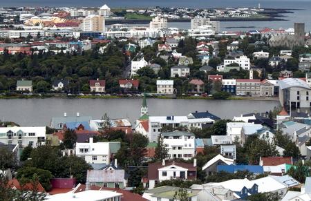 Aerial view of Skolavordustigur, Reykjavík, Iceland Standard-Bild - 115064616