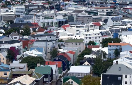 Aerial view of Skolavordustigur, Reykjavík, Iceland Standard-Bild - 115064620