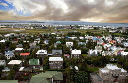 Aerial view of Skolavordustigur, Reykjavík, Iceland Standard-Bild - 115064621