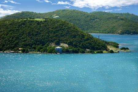 A view of Hassel Island in Saint Thomas Harbor, US Virgin Islands Standard-Bild - 117353765