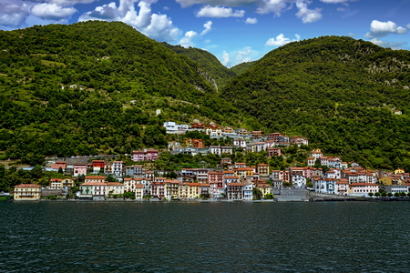 View of Colonno and Lake Como in the Province of Como in the Italian region of Lombardy, Italy