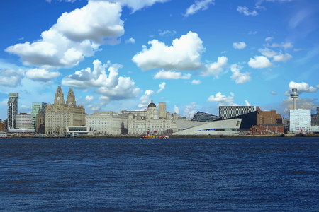 View of the Mercey River and Liverpool skyline, United Kingdom Reklamní fotografie - 122476494