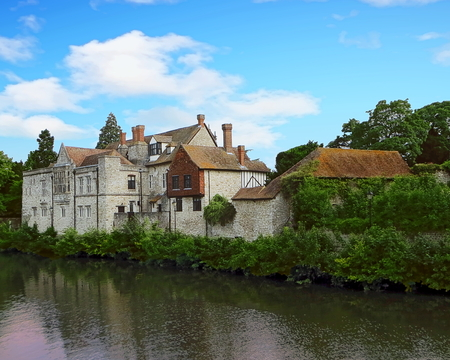 Historic town of Maidstone and the banks of the River Medway, Kent, England