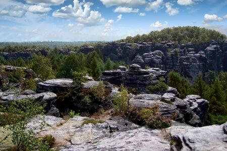 View of Tisa Rocks and terrain in Bohemian Switzerland Stock fotó