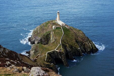 South Stack Lighthouse off the north-west coast of Holyhead, Anglesey, Wales, England