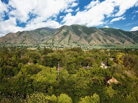 View of Logan, Utah, located near the eastern edge of Cache Valley on the western slopes of the Bear River Mountains, USA Stock Photo
