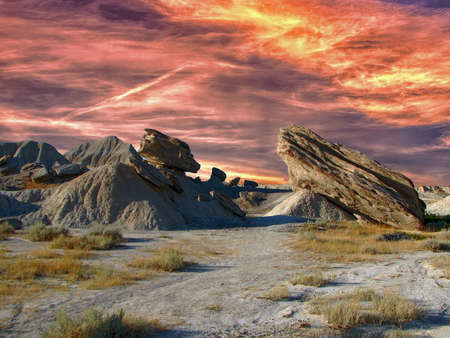 A spectacular sunset over the Toadstool Geologic Park in Nebraska's great outdoors, USA Stockfoto
