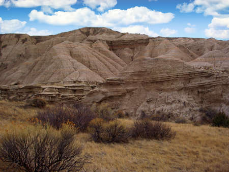 Rugged terrain and landscape in the Toadstool Geologic Park, Nebraska, USA