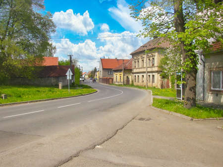 A road running through the village of Male Pritocno, Czech Republic