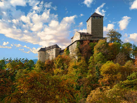Tyrol Castle in autumn, Burggrafenamt district of South Tyrol, Italy.