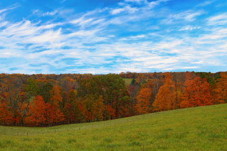 Autumn setting among fields and forests in rural, Ohio, USA