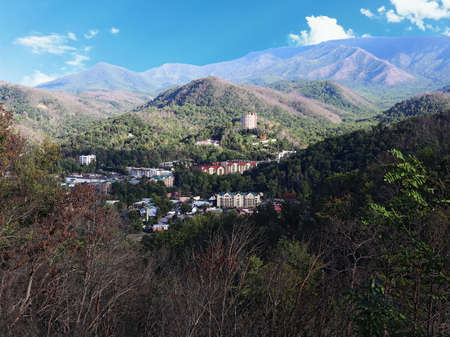 Aerial view of Gatlinburg, Tennessee, USA
