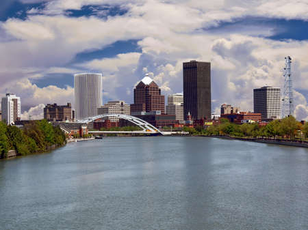 Downtown Rochester with the Genesee River in the foreground, New York, USA