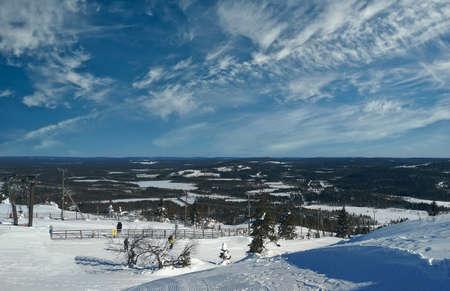 View of the Iso-Syote ski resort in Pudasjärvi, Finland