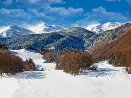 Winter scene at the Mt. Norikura Snow Resort, Matsumoto, Nagano, Japan