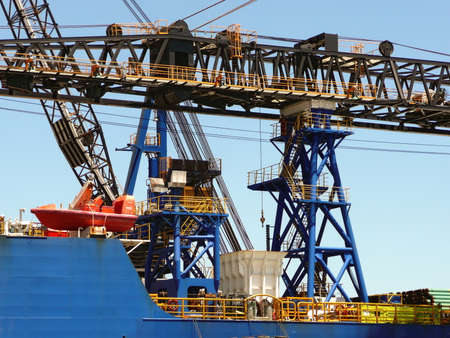 Close-up of a crane on an offshore supply ship at the Port of Pensacola, Florida, USA 免版税图像
