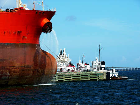 Close-up of an offshore supply ship docked at the Port of Pensacola, Florida, USA