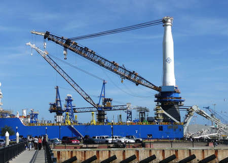 Cranes loading and unloading supplies and cargo at the Port of Pensacola, Pensacola, Florida, USA
