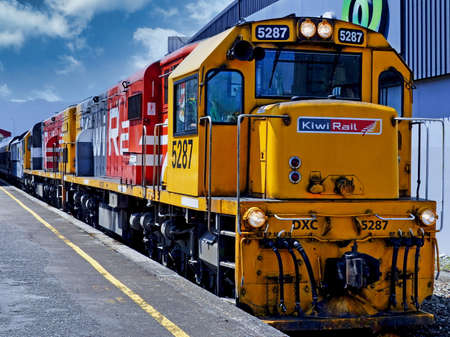 View of a New Zealand DX class diesel locomotive at a stop in Auckland, New Zealand