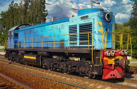 View of a diesel Locomotive at the Vinnitsa railway station, Ukraine 免版税图像