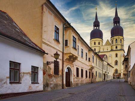 View to the Saint Nicholas Basilica, Trnava, Slovakia 免版税图像