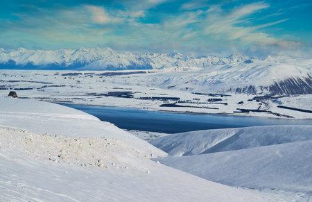 Lake Tekapo viewed from the Roundhill Ski Area in New Zealand