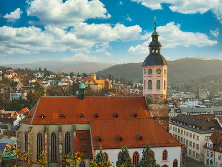 A view of the Collegiate church in Baden-Baden, Germany