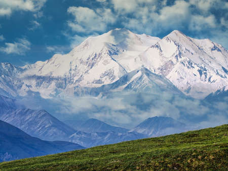 Denali National Park and Preserve with a view of the Denali mountain range, Alaska 免版税图像