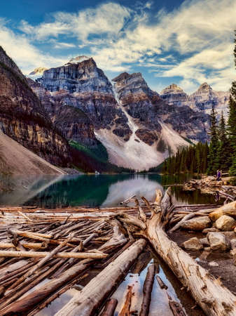 Mountain and lake scene in a forested area inside Banff National Park, Alberta, Canada