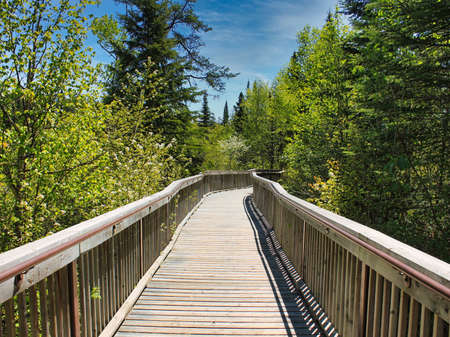 A boardwalk leading to the Canyon at Ouimet Canyon Provincial Park, Ontario, Canada