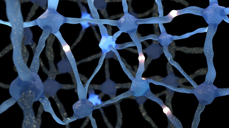 neuron: Neuron cells network, neurons system with impulses Stock Photo
