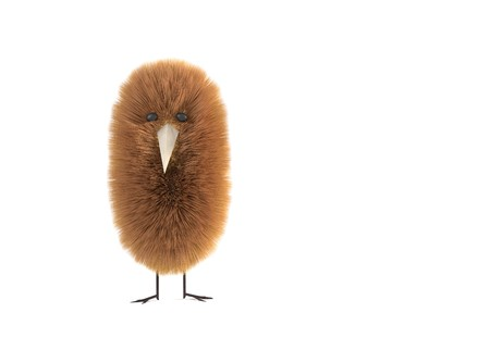 Fluffy fur bird creature isolated on white