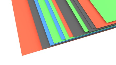 layers: stack of layers, gree, orange, blue, gray