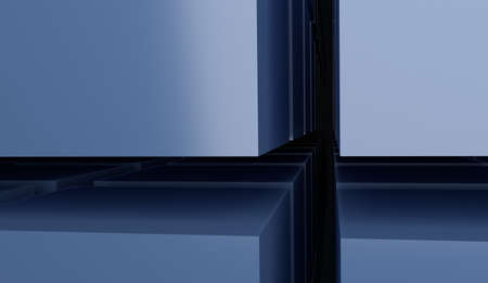 array: abstract 3d array of blue cubes render Stock Photo