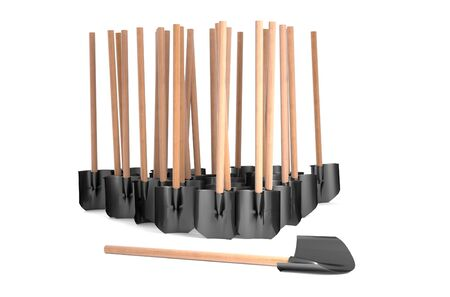 graft: Set of standing shovel with wood graft Stock Photo