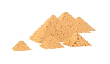 grave stone: Egyptian Giza great pyramids isolated on white Stock Photo