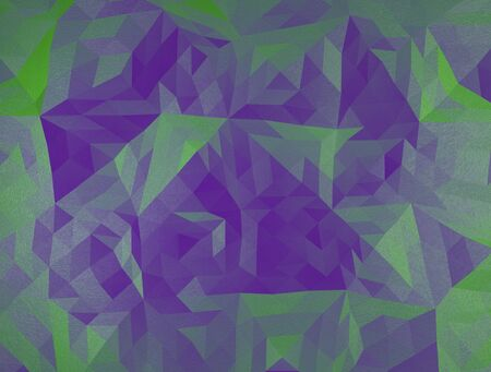 facet: color polygonal illustration, green and violet triangles facet.