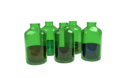 mixtures: Medical set of green bottles with color mixtures